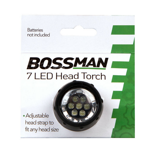 Bossman 7 LED Head Torch Light With Adjustable Head Strap