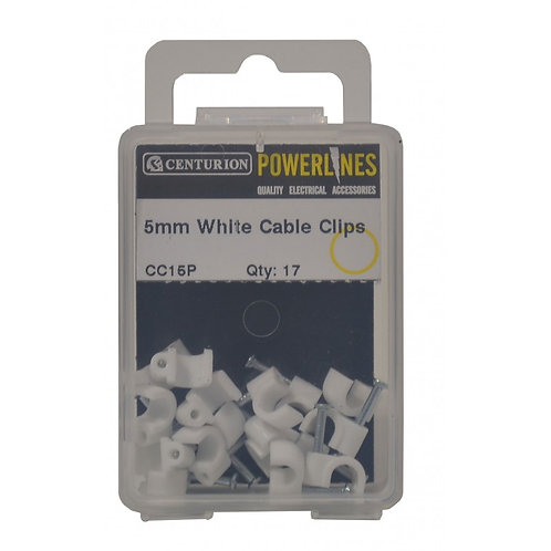 5mm White Cable Clips (Pack of 17)