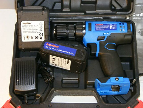 Supatool 18v Cordless Drill And Driver, 2 x 1.5Ah Batteries & Charger, Blue
