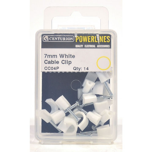 7mm White Cable Clips (Pack of 14)