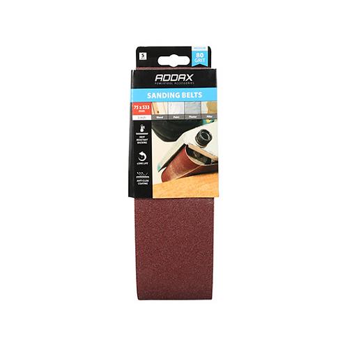 Addax Sanding Belts - 80 Grit - Red - 75 x 533mm - 5pcs