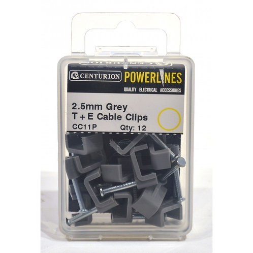 2.5mm T+E Grey Cable Clips (Pack of 12)