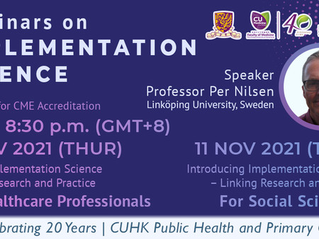 Webinar Series on Implementation Science by Prof. Per Nilsen