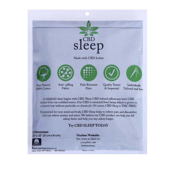 CBD-Infused Blue Pillowcases Back of Package