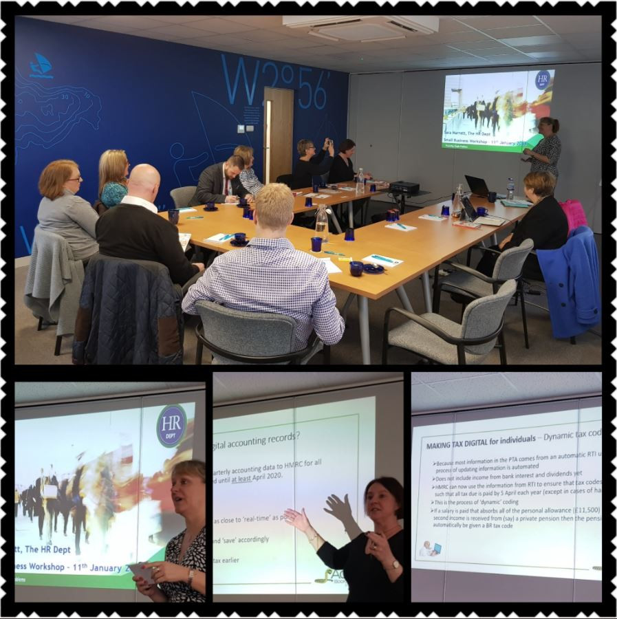Images of the room in which the last workshop was held, with the power point and presenter in the background