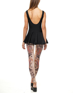swimsuit and tattoo leggings back
