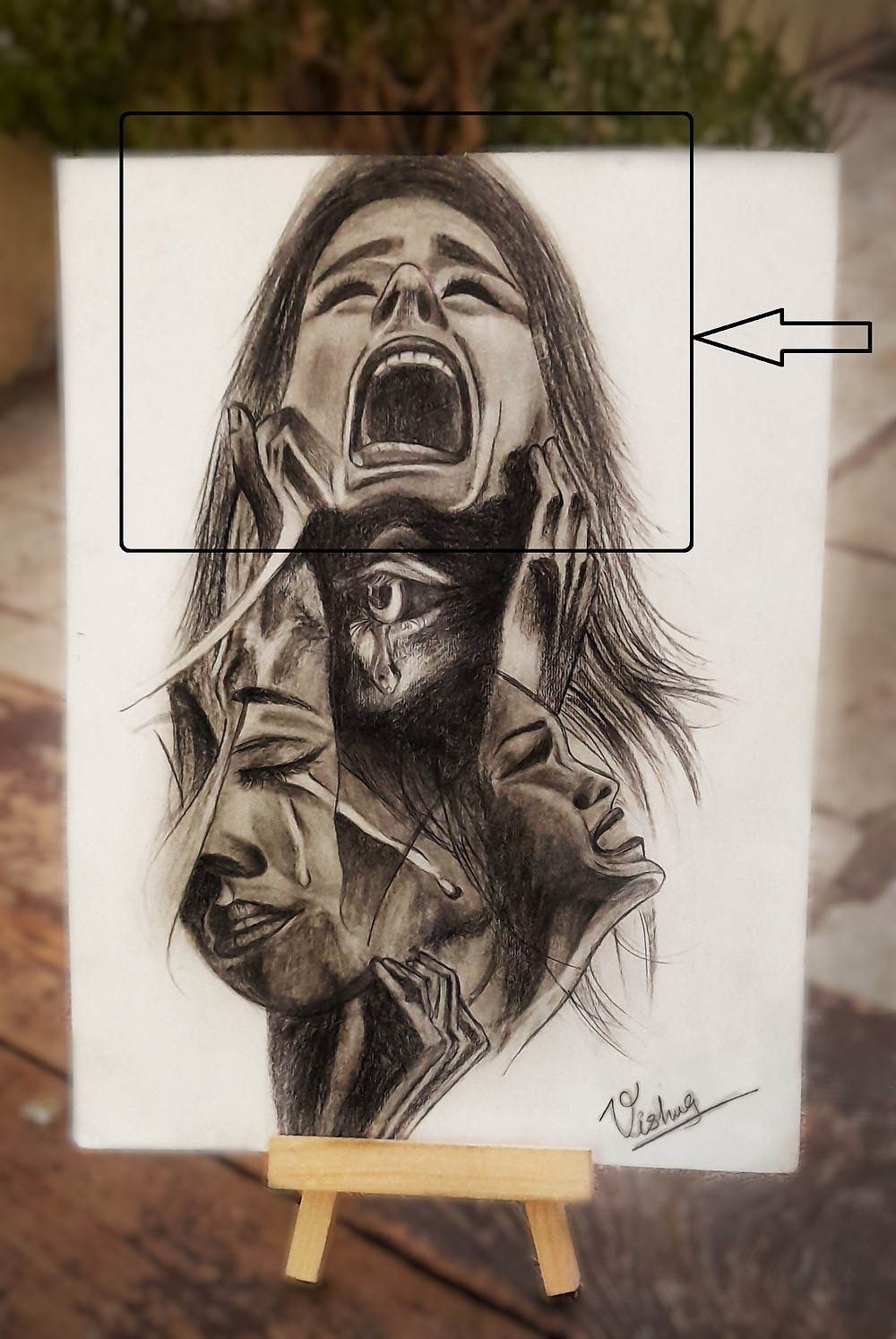 Sketch describing the pain every women is facing , the emotion which stays inside because responsibilities and at the is comes out in different form