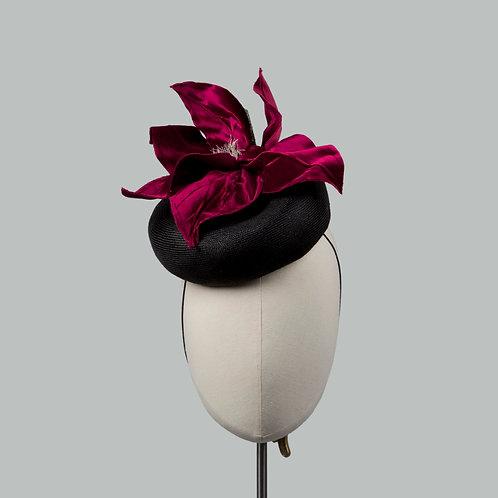 Women's red silk cocktail hat - Aphrodite