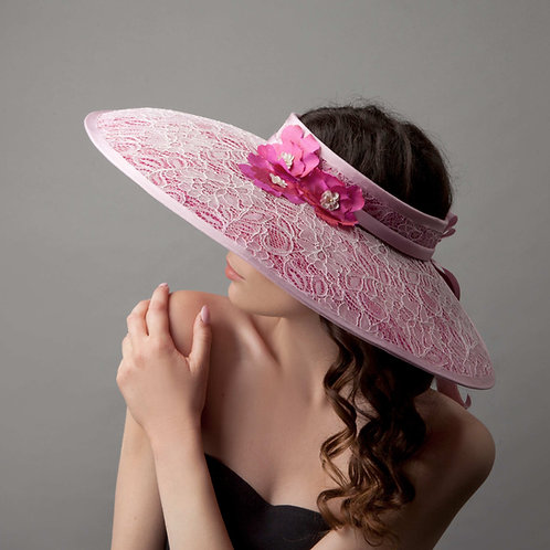 Pink crownless picture hat - Hitomi, by Judy Bentinck
