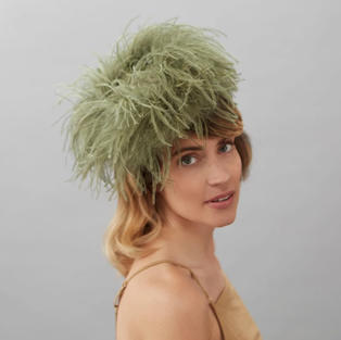 Olive Green Cocktail Hat by Judy Bentinc