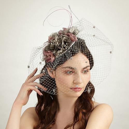Grey and Pink floral headpiece - Philo, by Judy Bentinck