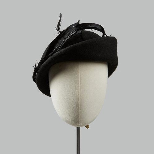 Women's vintage wool felt cocktail hat - Hestia