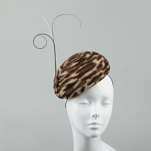 Jungle print fur felt cocktail hat - front view