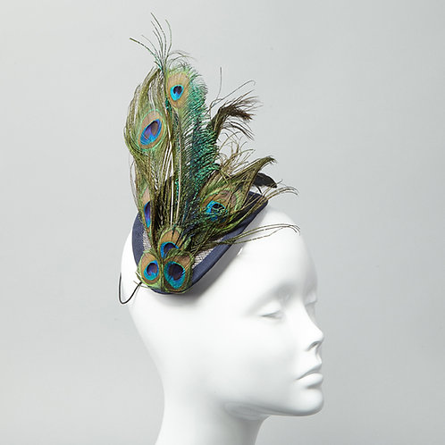 Sinamay headpiece bound with navy petersham - front view