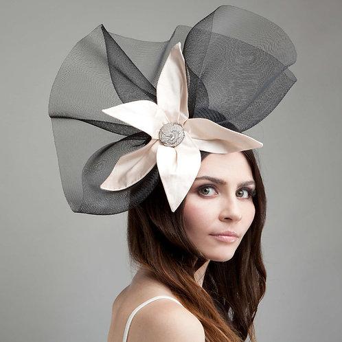 Black crin & nude silk headpiece - Juno, by Judy Bentinck