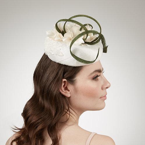 White silk cocktail hat - Arcadia, by Judy Bentinck