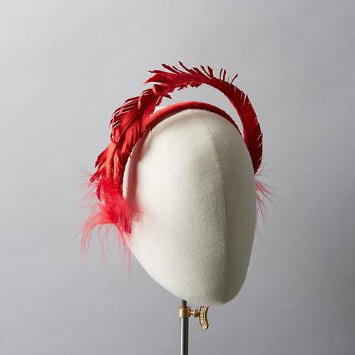 Women's red silk headpiece - Scarlett
