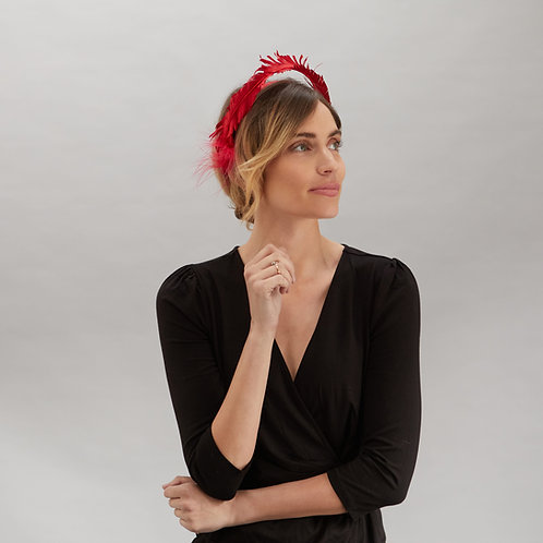 Red silk headpiece - Scarlett, by Judy Bentinck