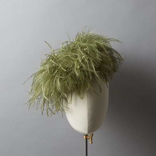 Women's Olive Green Ostrich Feather Hat - Angelina