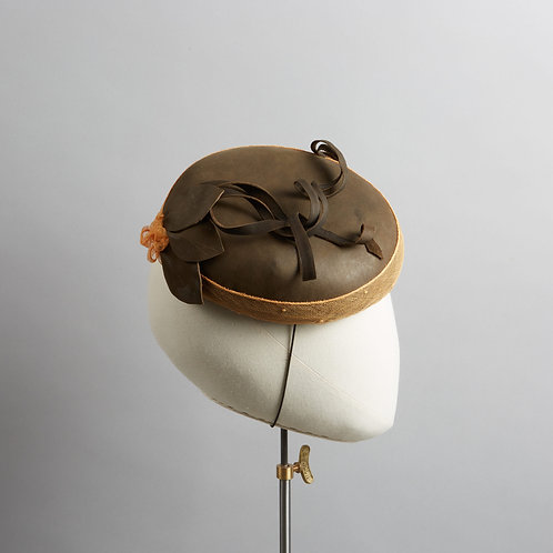 Women's brown leather cocktail hat - Salma