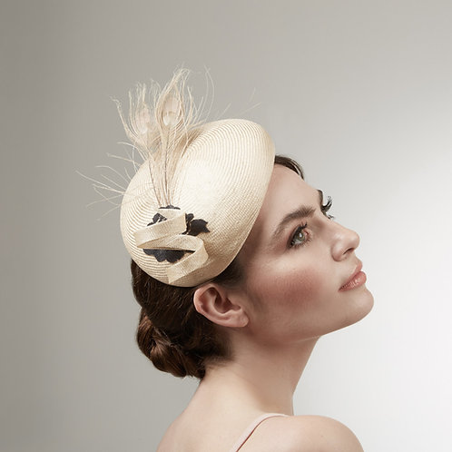 Golden parisisal cocktail hat - Jocasta, by Judy Bentinck