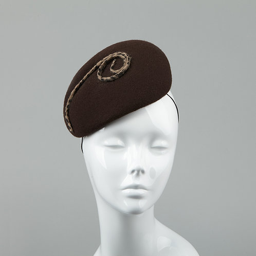 Chocolate brown felt cocktail hat - front view