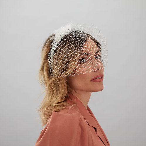 Silver veiled headband - Meryl, by Judy Bentinck