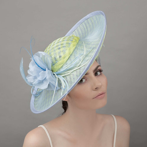 Green & blue picture hat - Fuko, by Judy Bentinck