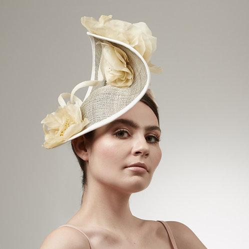 Sculpted pale yellow silk headpiece - Aurora, by Judy Bentinck