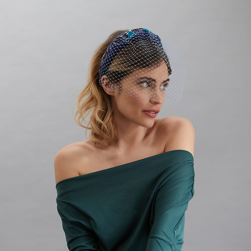 Blue silk headband - Vivien, by Judy Bentinck
