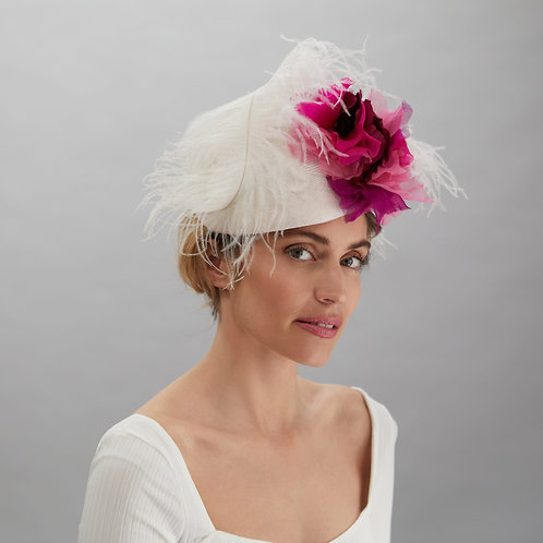 Pink and White Cocktail Hat - Ava, by Judy Bentinck