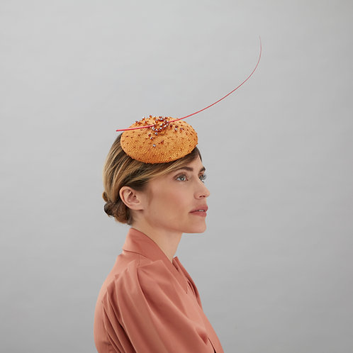 Orange Cocktail Hat with Beads - Cate, by Judy Bentinck