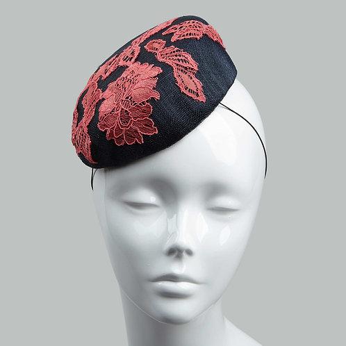 Women's navy & coral cocktail hat - Ayaku