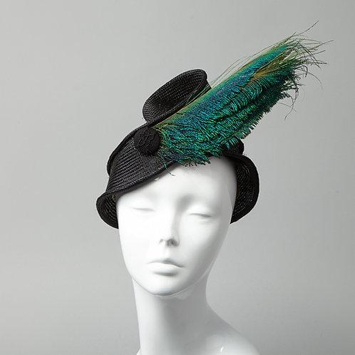 Black parisisal turban style headband - front view
