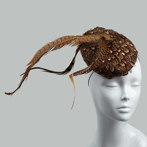 Women's feather-covered cocktail hat - Hermione