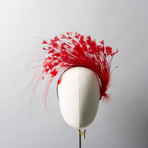 Women's red feather spray headband - Charlize
