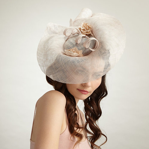 Champagne sculpted cocktail hat - Camelia, by Judy Bentinck