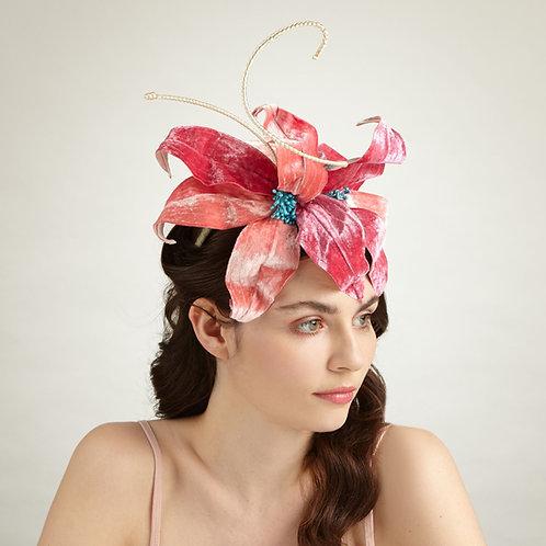 Orange & pink floral headpiece - Eugene, by Judy Bentinck