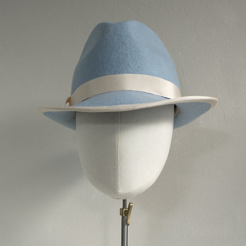 Blue wool felt trilby - Mina, by Judy Bentinck