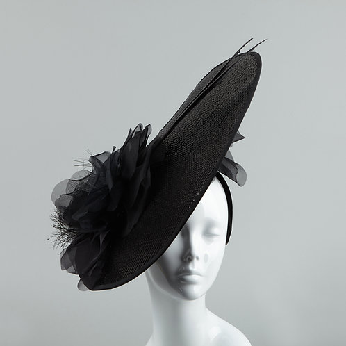 Black sequinned fashion hat - front view