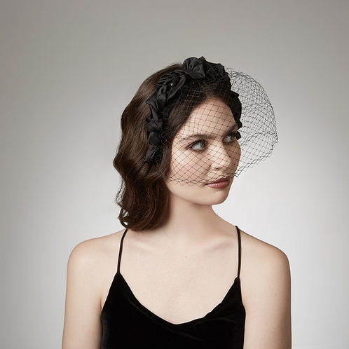 Women's black veiled headband - Athena