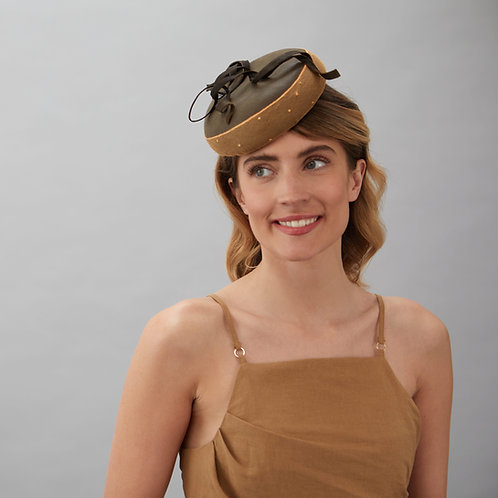 Brown leather cocktail hat - Salma, by Judy Bentinck