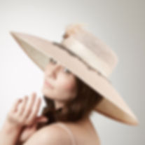 Pale pink designer  brimmed hat for spec