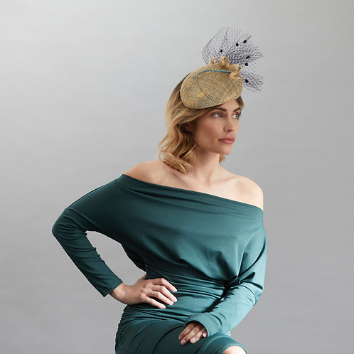 Gold and Navy Cocktail Hat - Lucille, by Judy Bentinck