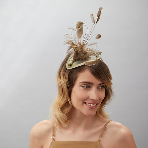 Gold Feathered Headpiece - Halle, by Judy Bentinck