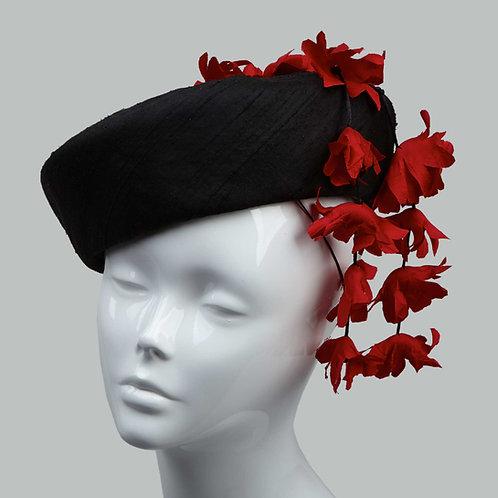 Women's black silk cocktail hat - Michiyo