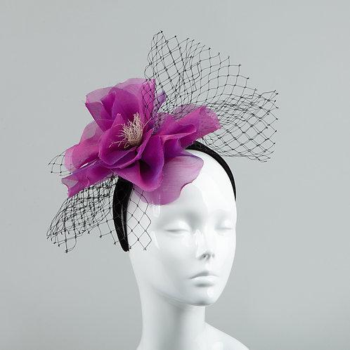 Women's magenta silk flower headpiece - Natalie
