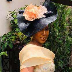 Judy-Bentinck-Milliner-Bespoke-Black-Peach-Headpiece-Wedding-Guest-2