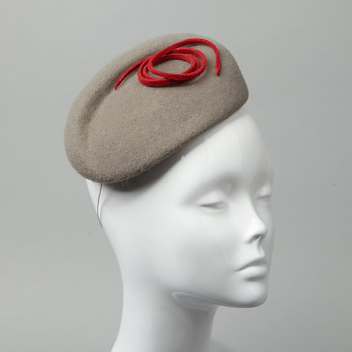Grey wool felt cocktail hat - front view