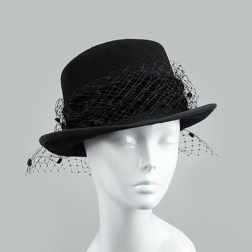 Black felt riding hat - front view